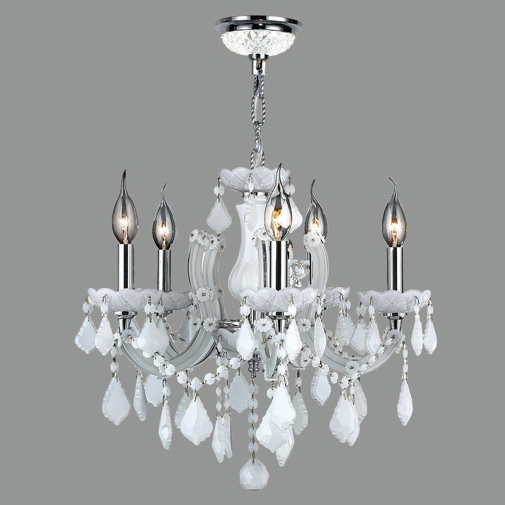 Worldwide lighting catherine 5 light polished chrome and white worldwide lighting catherine 5 light polished chrome and white crystal chandelier arubaitofo Gallery