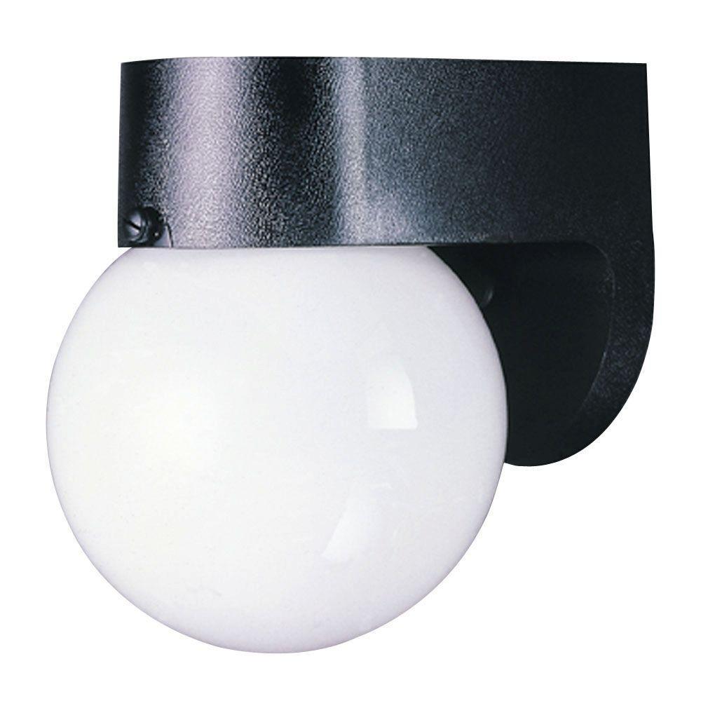 1-Light Black Hi-Impact Polycarbonate Exterior Wall Lantern with White Glass Globe