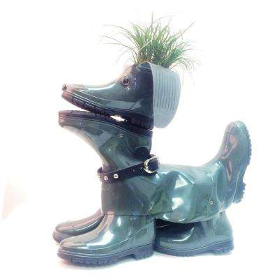 20 in. Sophie the Boot Buddies Dog Sculpture and Planter Home and Garden Loyal Companion Statue Olive Gloss