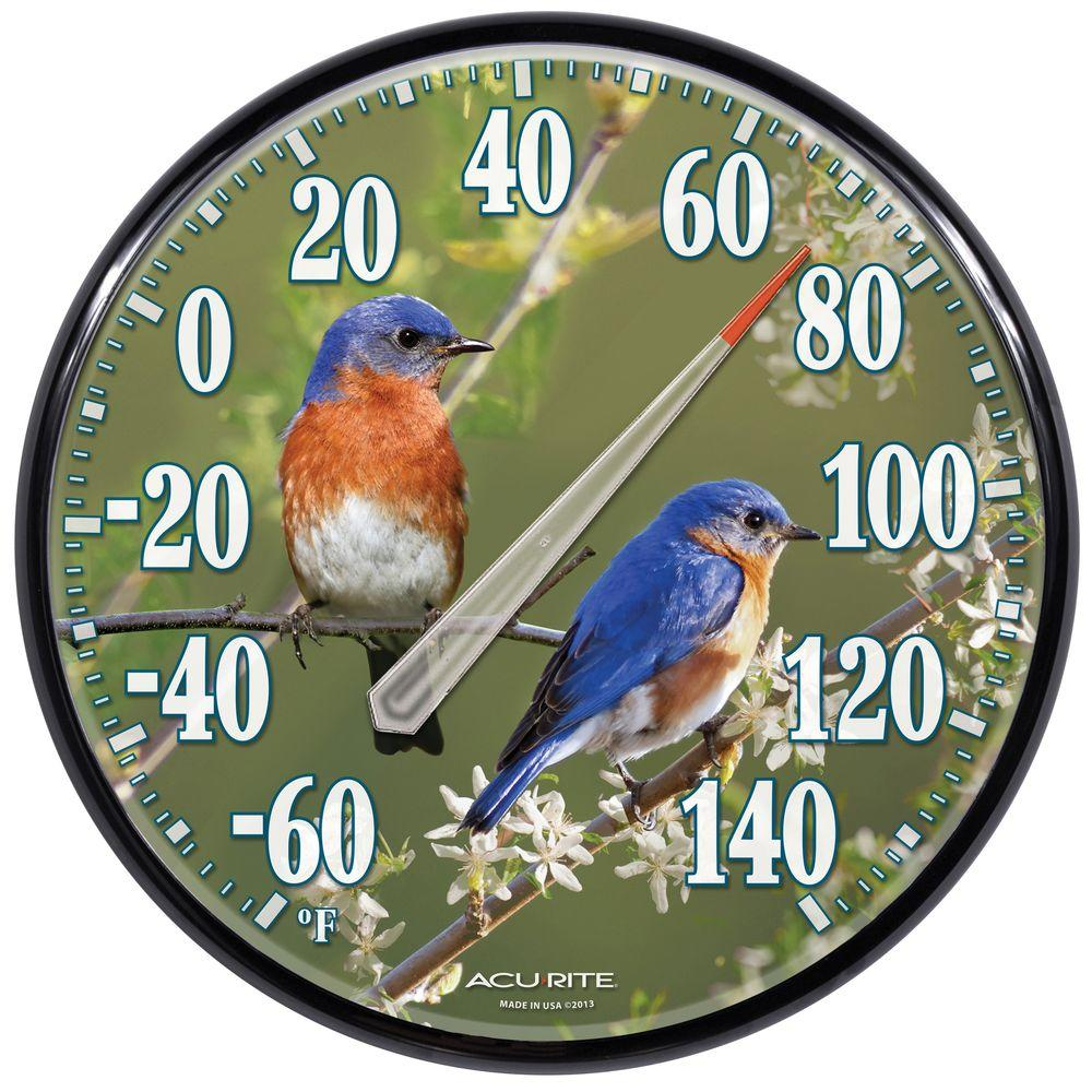 12.5 in. Bluebirds Analog Thermometer