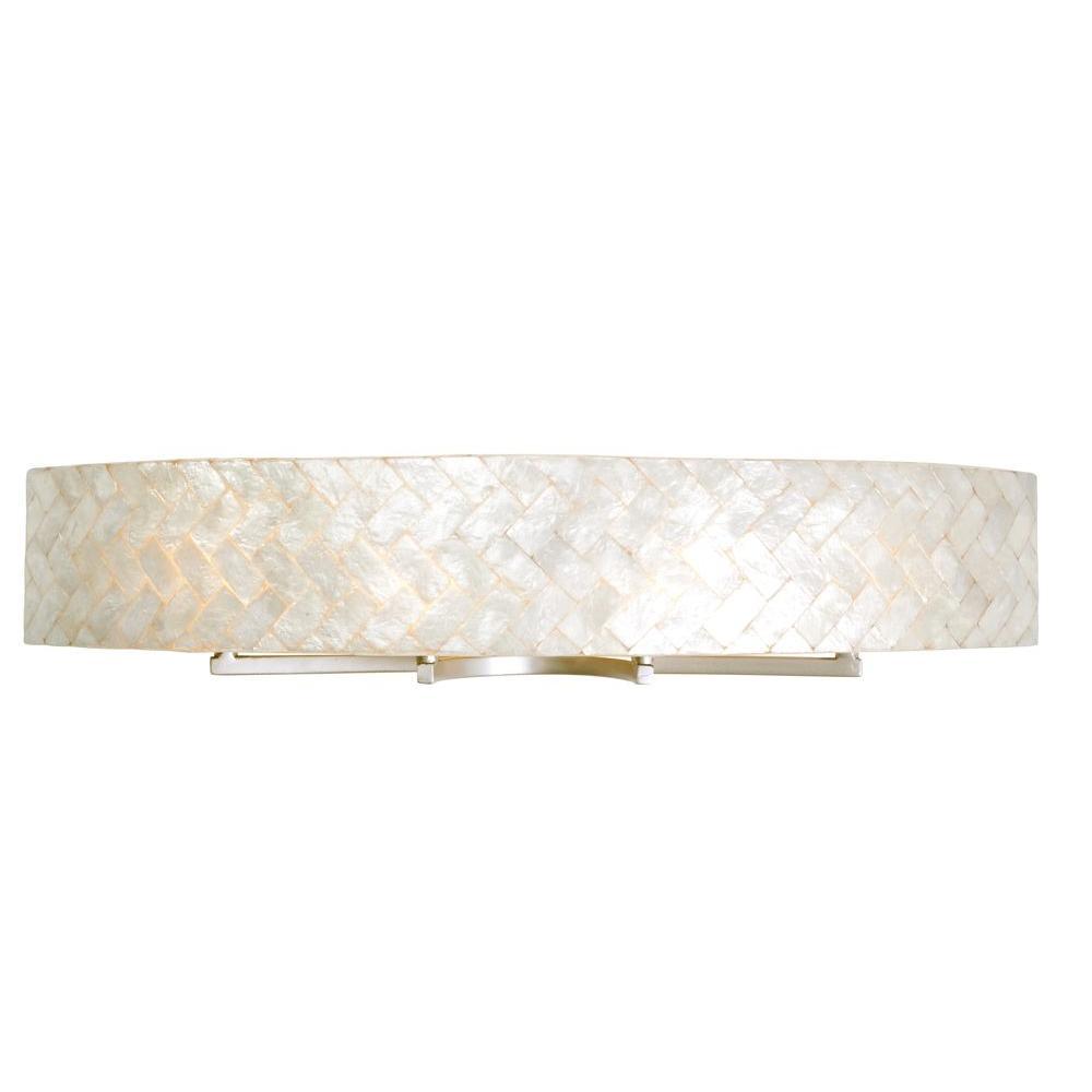 Radius 4-Light Gold Dust Bath Vanity Light with Herringbone Natural Capiz