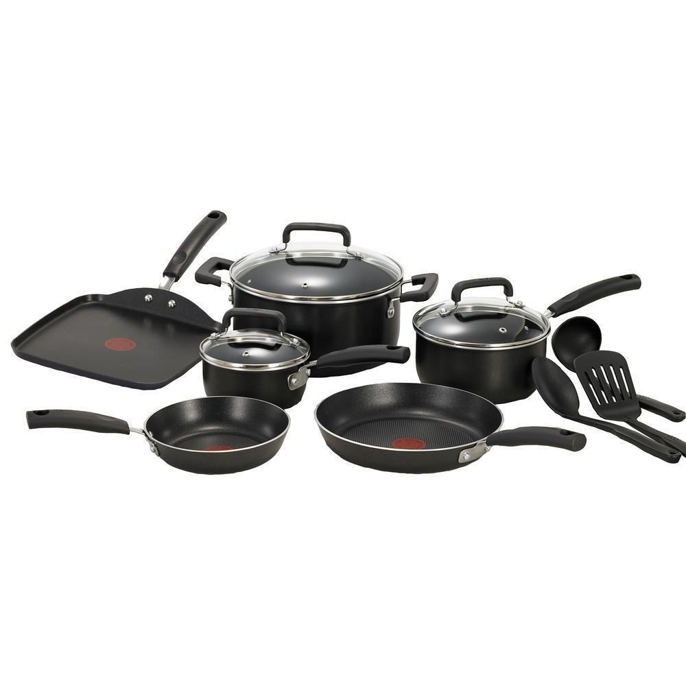 Signature Total 12-Piece Aluminum Nonstick Cookware Set in Black