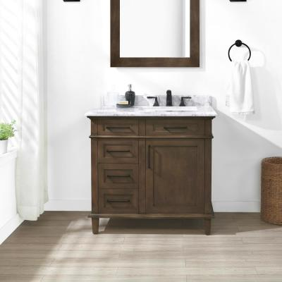 Sonoma 36 in. W x 22 in. D Bath Vanity in Almond Latte with Carrara Marble Vanity Top in White with White Basin