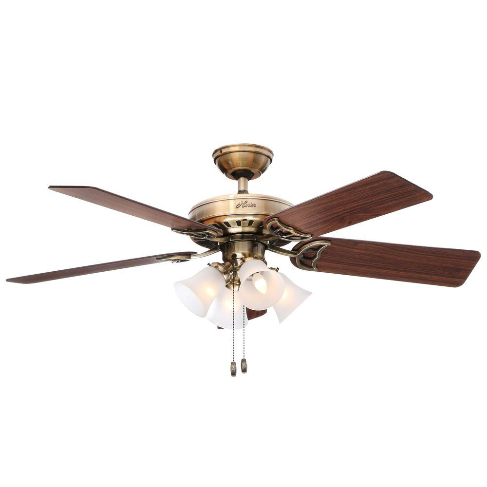 hunter studio series 52 in indoor antique brass ceiling fan with light kit 53063 the home depot. Black Bedroom Furniture Sets. Home Design Ideas