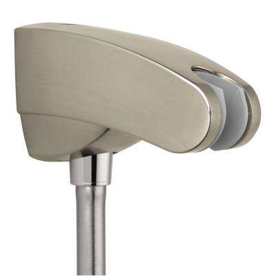 Porter E Holder with Outlet in Brushed Nickel