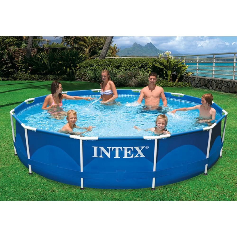 Intex 12 ft. Round x 30 in. D Metal Frame Above Ground Pool with 530 ...
