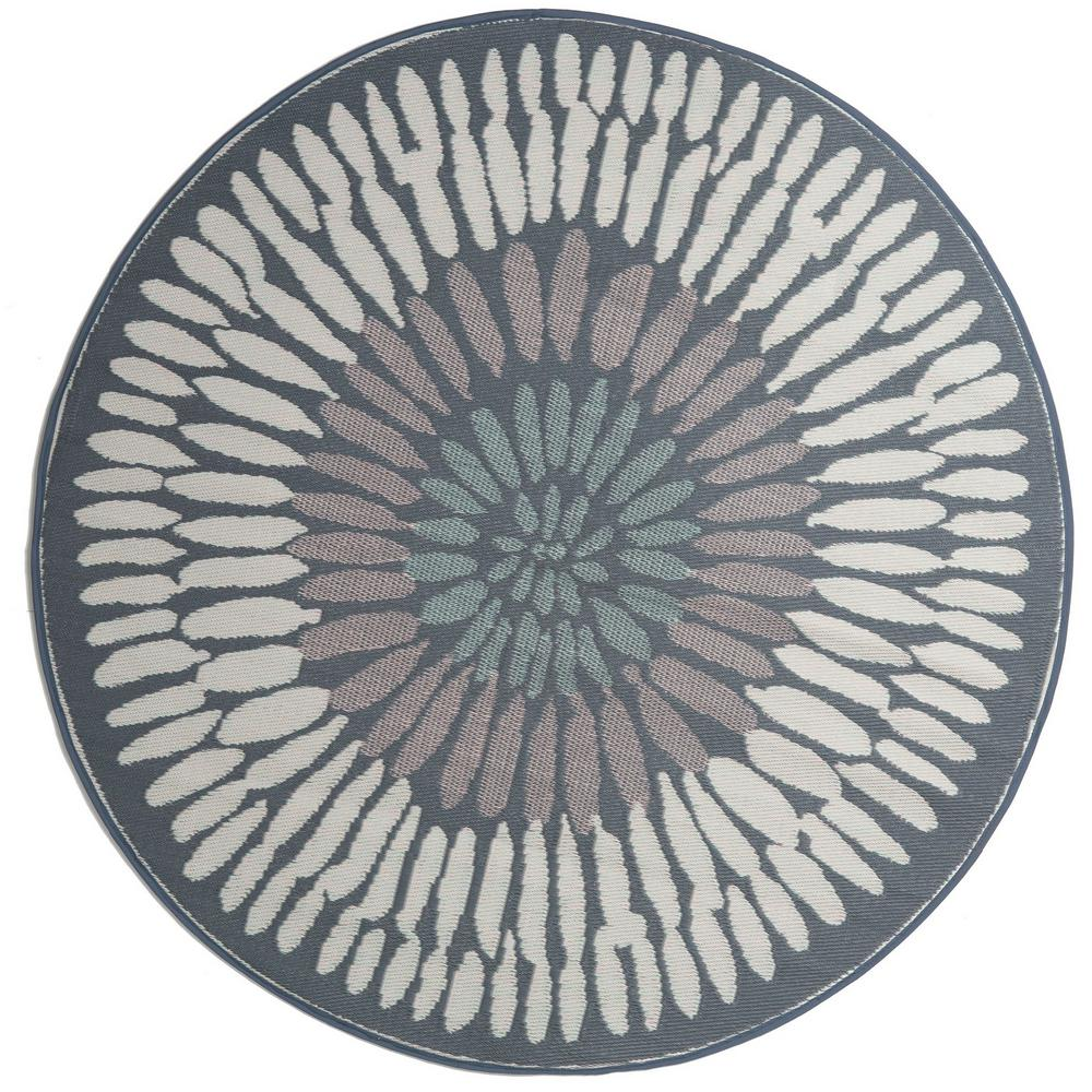 Fab Habitat Azores Indoor/Outdoor Round Gray 6 ft. Area Rug
