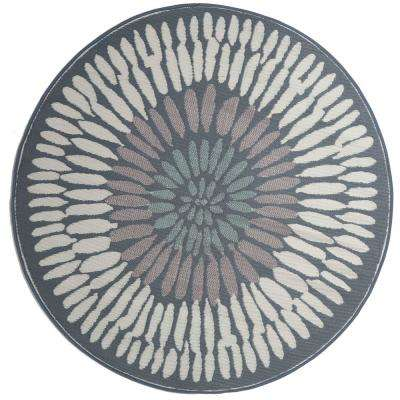 Azores Indoor/Outdoor Round Gray 6 ft. Area Rug