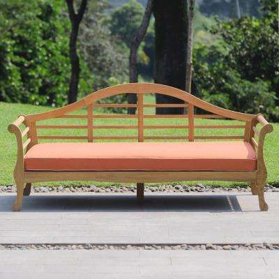 Lutyens Wood Outdoor Day Bed with Orange Cushion