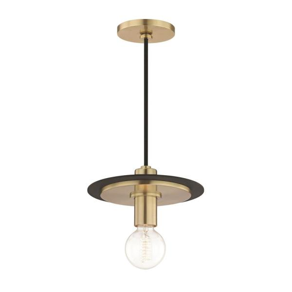Milo 1-Light Aged Brass Small Pendant with Black Accents