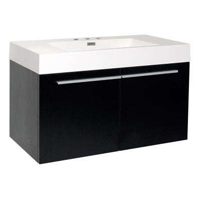 Vista 36 in. Bath Vanity in Black with Acrylic Vanity Top in White with White Basin