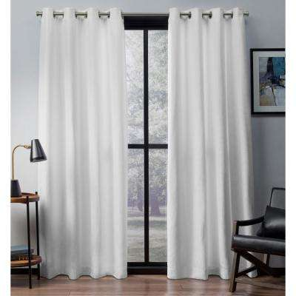 Eglinton 52 in. W x 96 in. L Woven Blackout Grommet Top Curtain Panel in Winter White (2 Panels)