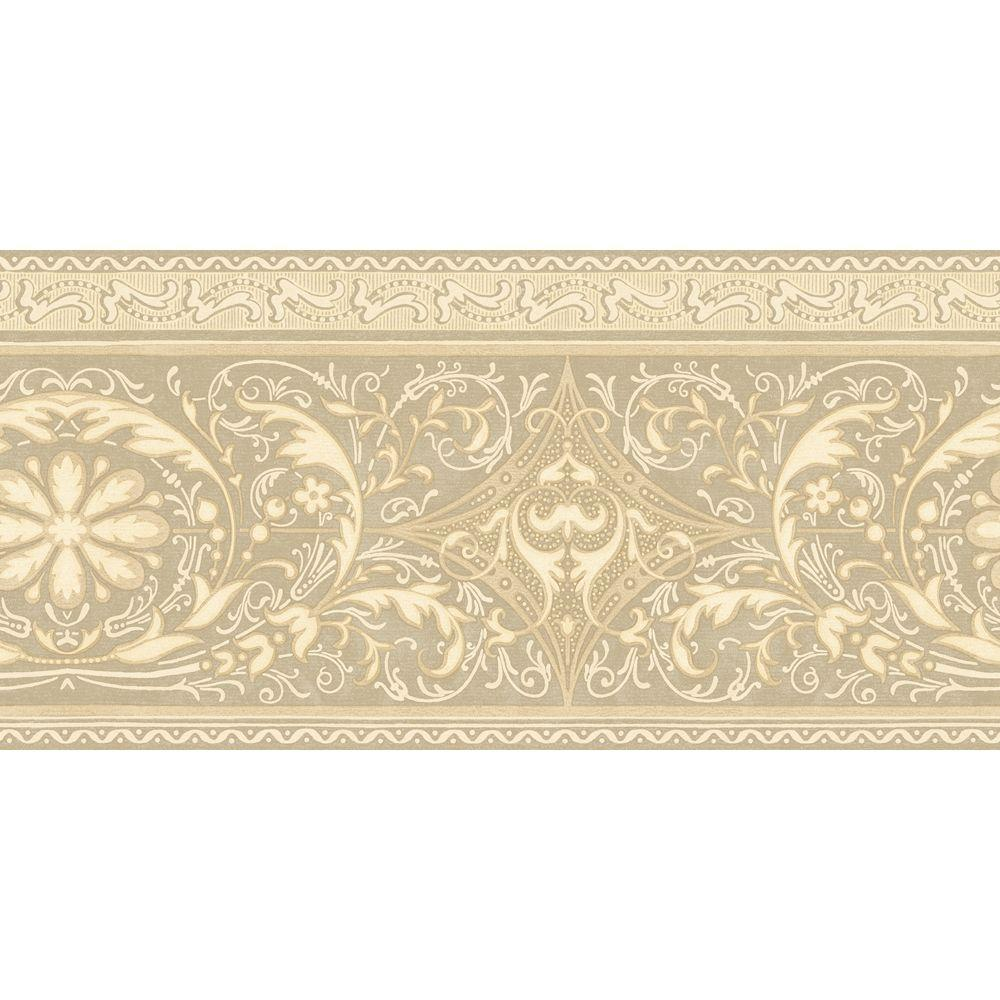 The Wallpaper Company 10.25 in. x 15 ft. Beige Filigree Scroll Border