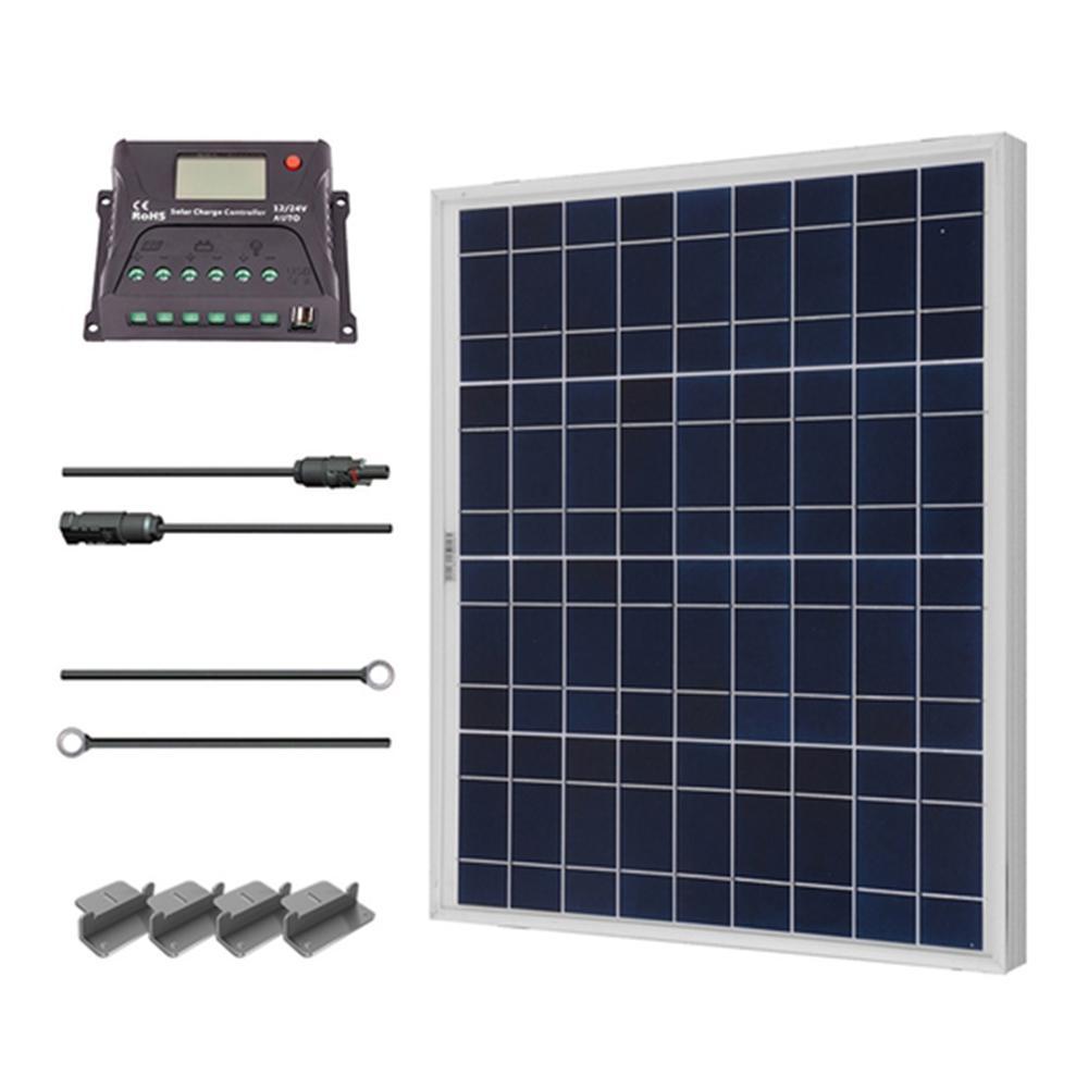 50-Watt 12-Volt Polycrystalline Solar Starter Kit for Off-Grid Solar System