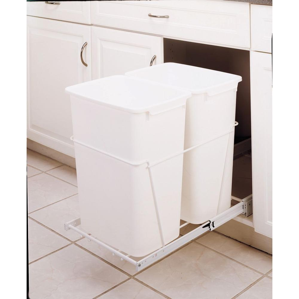 Rev-A-Shelf 19 in. H x 14 in. W x 22 in. D Double 35 Qt. Pull-Out White Waste Containers with Full Extension Slides