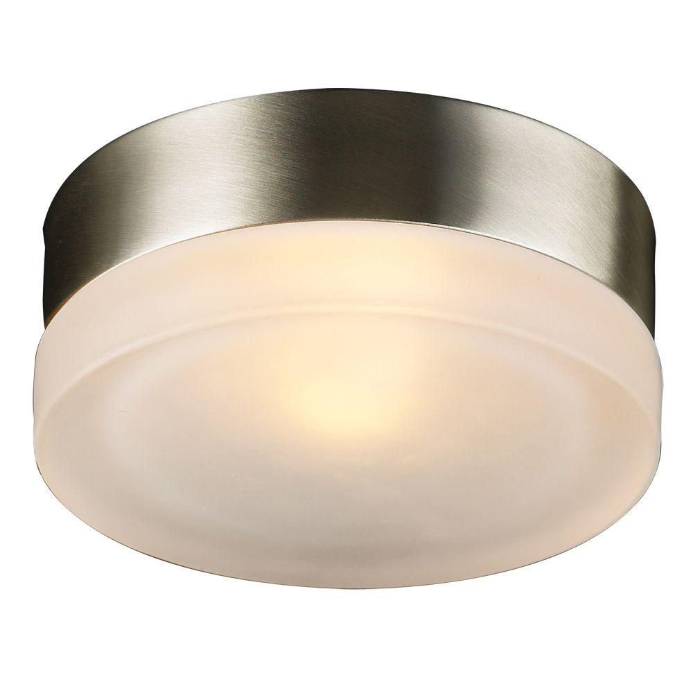 Contemporary Beauty 1-Light Satin Nickel Halogen Ceiling Flush Mount