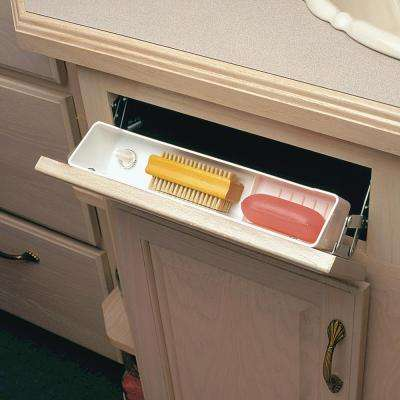 3 in. H x 11 in. W x 2 in. D White Polymer Sink Front Tray with Ring Holder Cabinet Organizer