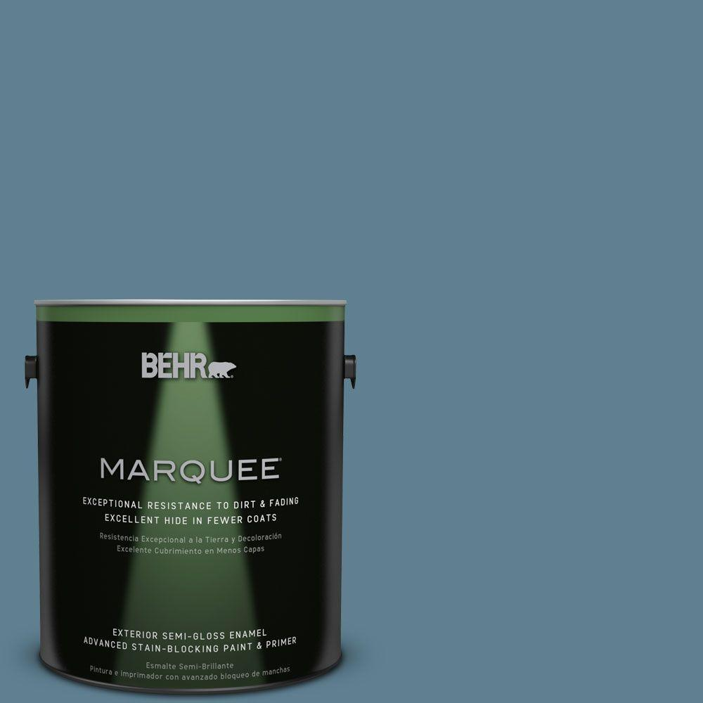 BEHR MARQUEE 1-gal. #BXC-36 Aegean Blue Semi-Gloss Enamel Exterior Paint