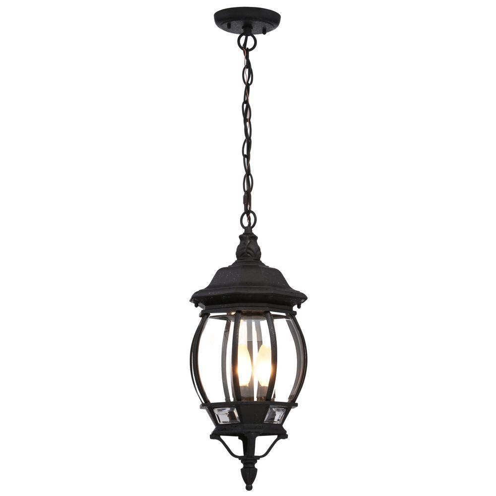 Glomar Concord 3 Light Textured Black Outdoor Hanging Lantern