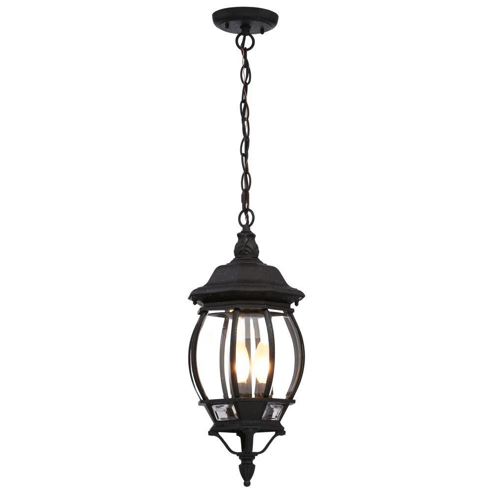 Concord 3-Light Textured Black Outdoor Hanging Lantern