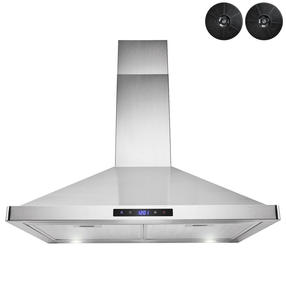AKDY 30 in. Convertible Kitchen Wall Mount Range Hood in Stainless Steel with LEDs, Touch Control and Carbon Filters, Silver was $282.45 now $159.99 (43.0% off)