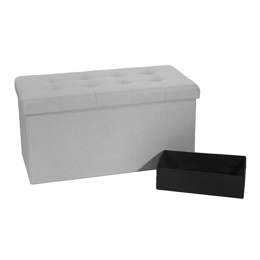 Seville Classics Light Gray Foldable Storage Bench