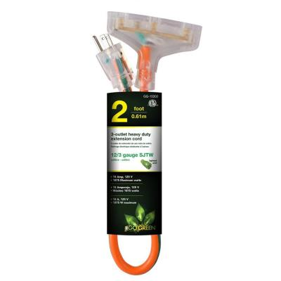 3-Outlet 2 ft. 12/3 Heavy Duty Extension Cord - Orange