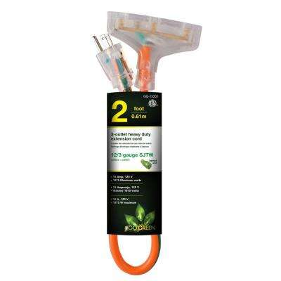 3-Outlet 12/3 2 ft. Heavy Duty Extension Cord - Orange