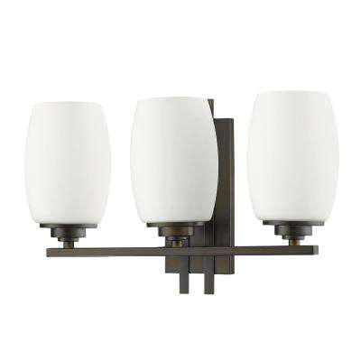 Sophia 3-Light Oil-Rubbed Bronze Vanity Light with Frosted Glass Shades