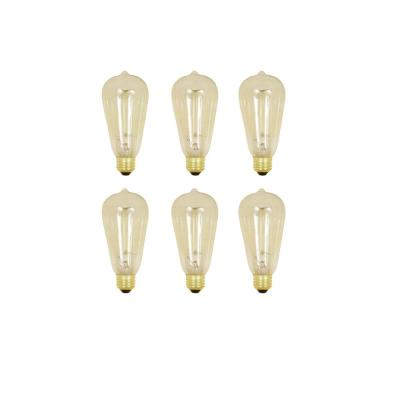 60W Equivalent ST19 Dimmable Incandescent Amber Glass Vintage Edison Light Bulb With Cage Filament Soft White (6-Pack)