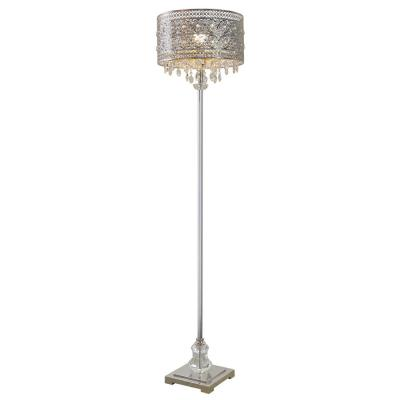 Glam Doll 60.5 in. Clear Crystal Glass and Silver Floor Lamp