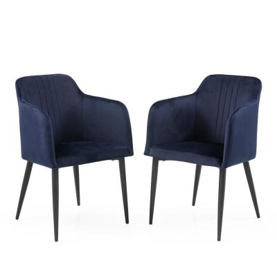 Jason Midnight Blue Modern Living Room Accent and Dining Arm Chair (Set of 2)