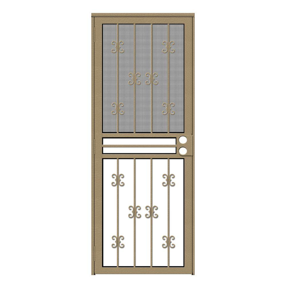 Unique Home Designs 30 In X 80 In Moorish Lace Tan Recessed Mount All Season Security Door