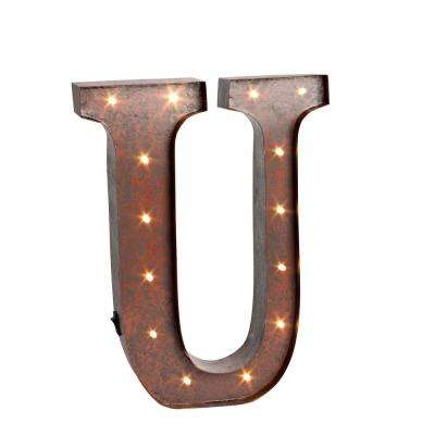 "12 in. H ""U"" Rustic Brown Metal LED Lighted Letter"