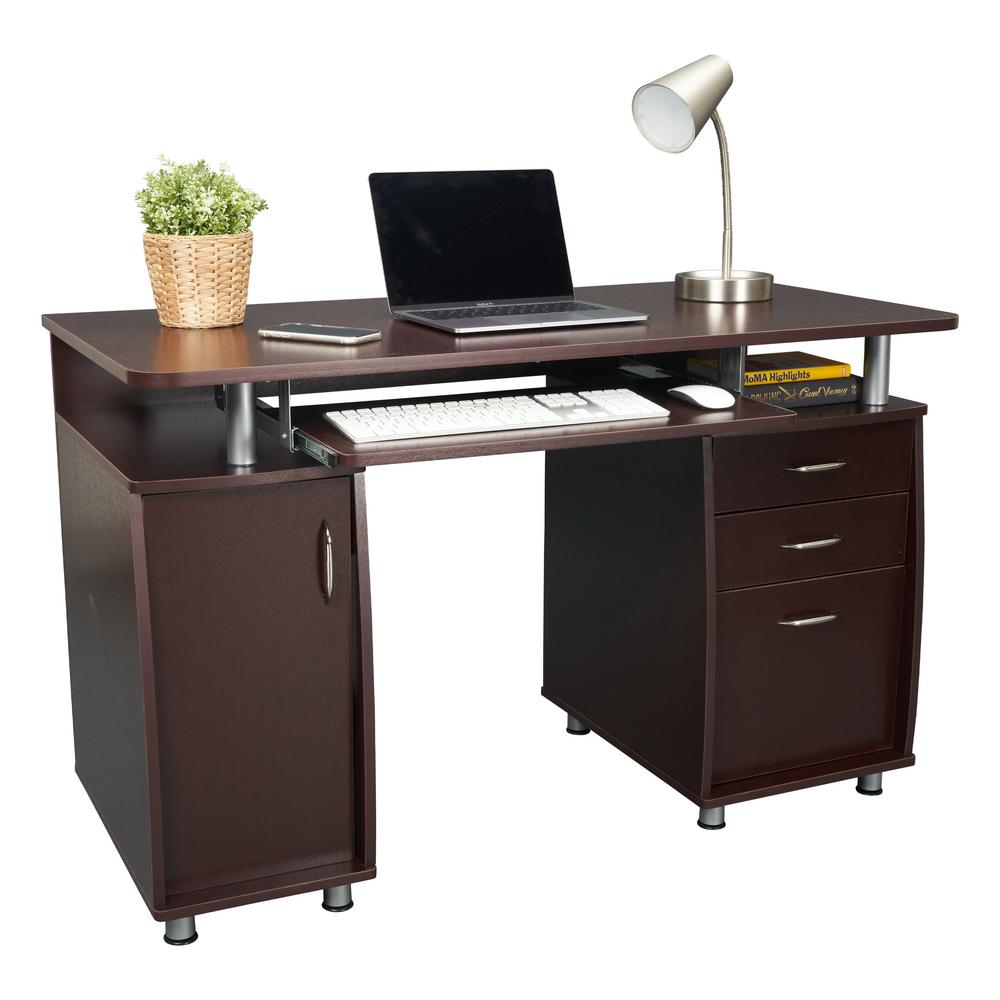 Techni Mobili 48 In Rectangular Chocolate 3 Drawer Computer Desk With Keyboard Tray Rta 4985 Ch36 The Home Depot