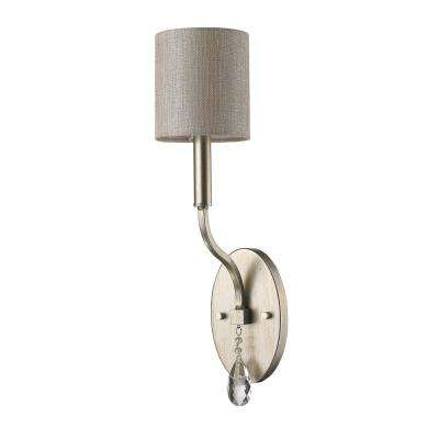 Margaret 1-Light Washed Gold Sconce with Fabric Shade Crystal Accent