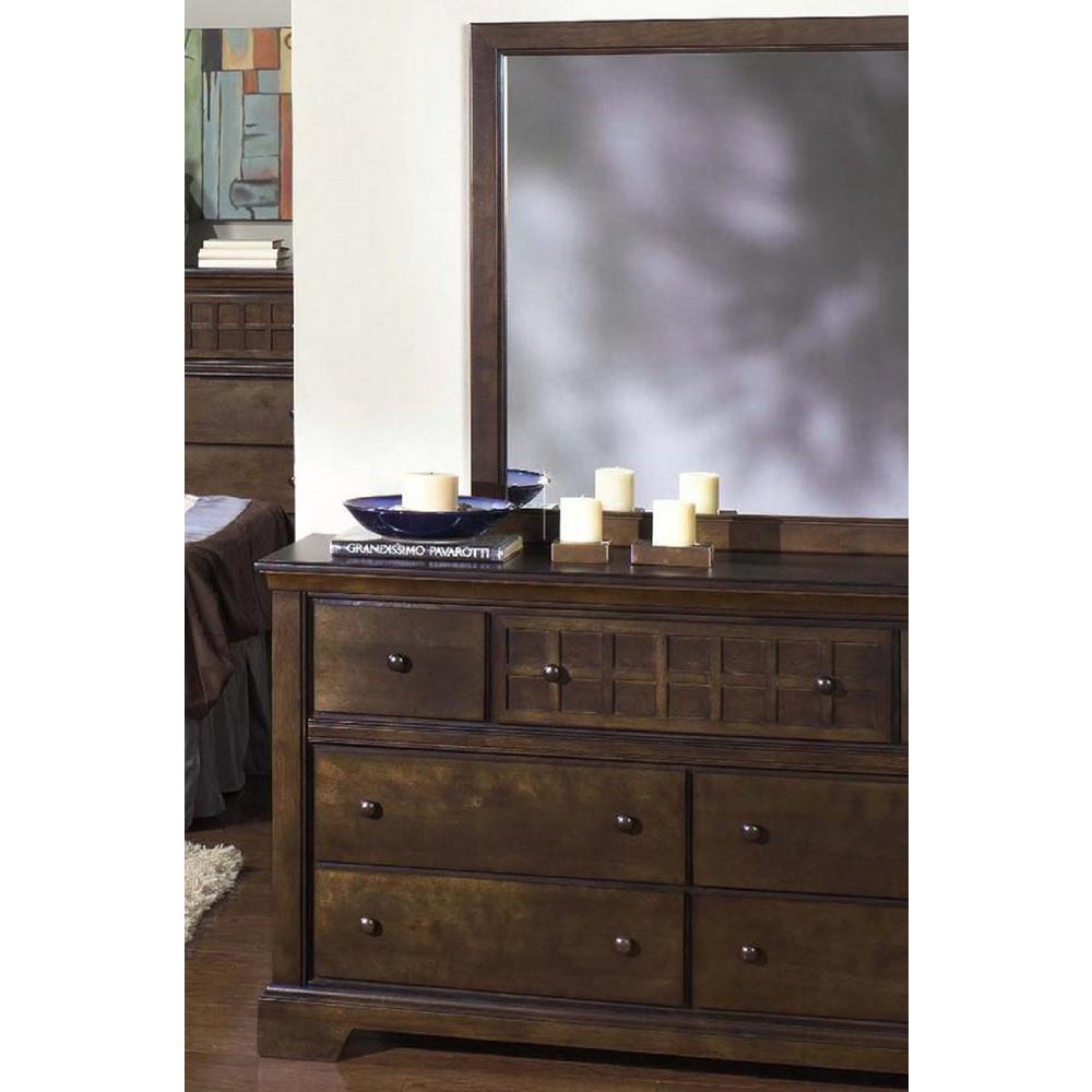Progressive Furniture Casual Traditions 7-Drawer Walnut Dresser with Mirror