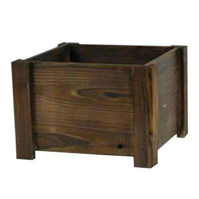 16 in. Dark Flame Large Square Wood Planter Box