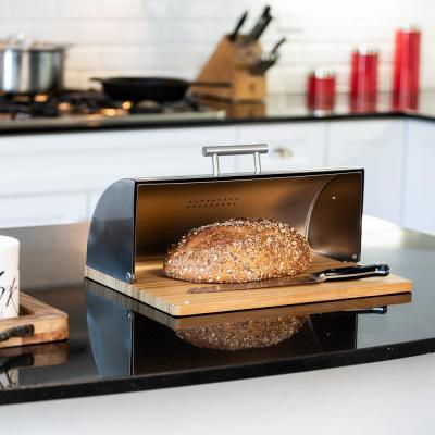Stainless Steel Breadbox with Bamboo Board Set