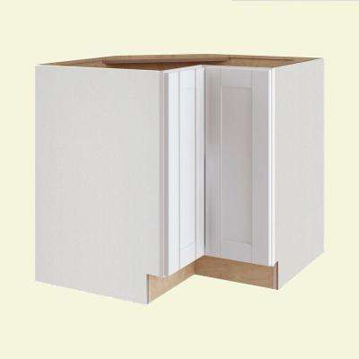 Vesper White Shaker Assembled Plywood 36 in. x 34.5 in. x 24 in. Easy Reach Corner Base Kitchen Cabinet Left Hand