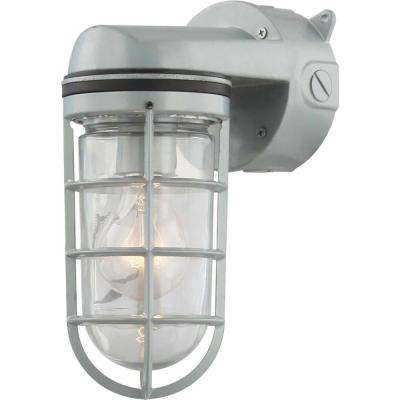 1-Light Silver Gray Aluminum Outdoor Wall Mount Sconce with Clear Glass Rounded Cylindrical Shade