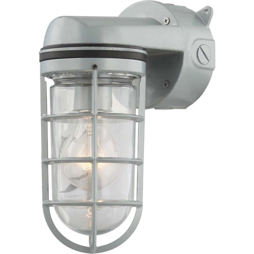 Volume Lighting 1-Light Silver Gray Indoor or Outdoor Aluminum Wall Mount Sconce with Clear Glass Rounded Cylindrical Shade