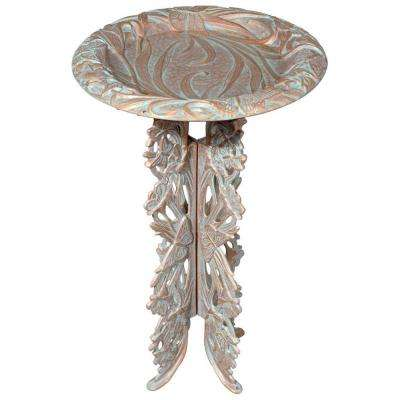 Copper Verdigris Butterfly Birdbath and Pedestal