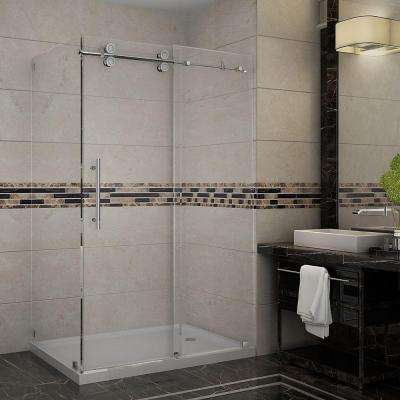 Langham 48 in. x 35 in. x 77-1/2 in. Completely Frameless Shower Enclosure in Stainless Steel with Right Base