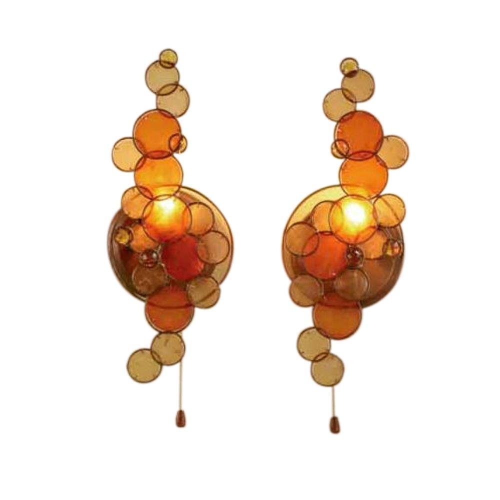 Capiz Shell 2-Light Antique Brass Sconces Set