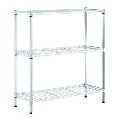 30.5 in. H x 24 in. W x14 in. D 3-Tier Steel Wire Shelving Unit in Chrome