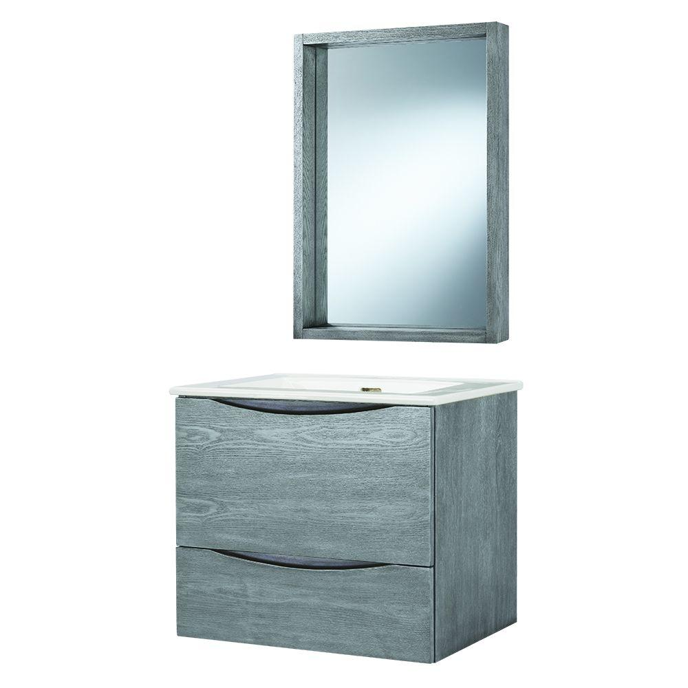 Wonderful D Wall Hung Bath Vanity In Grey With Vitreous China Vanity Top In White And  Mirror CLAGVTM2420   The Home Depot