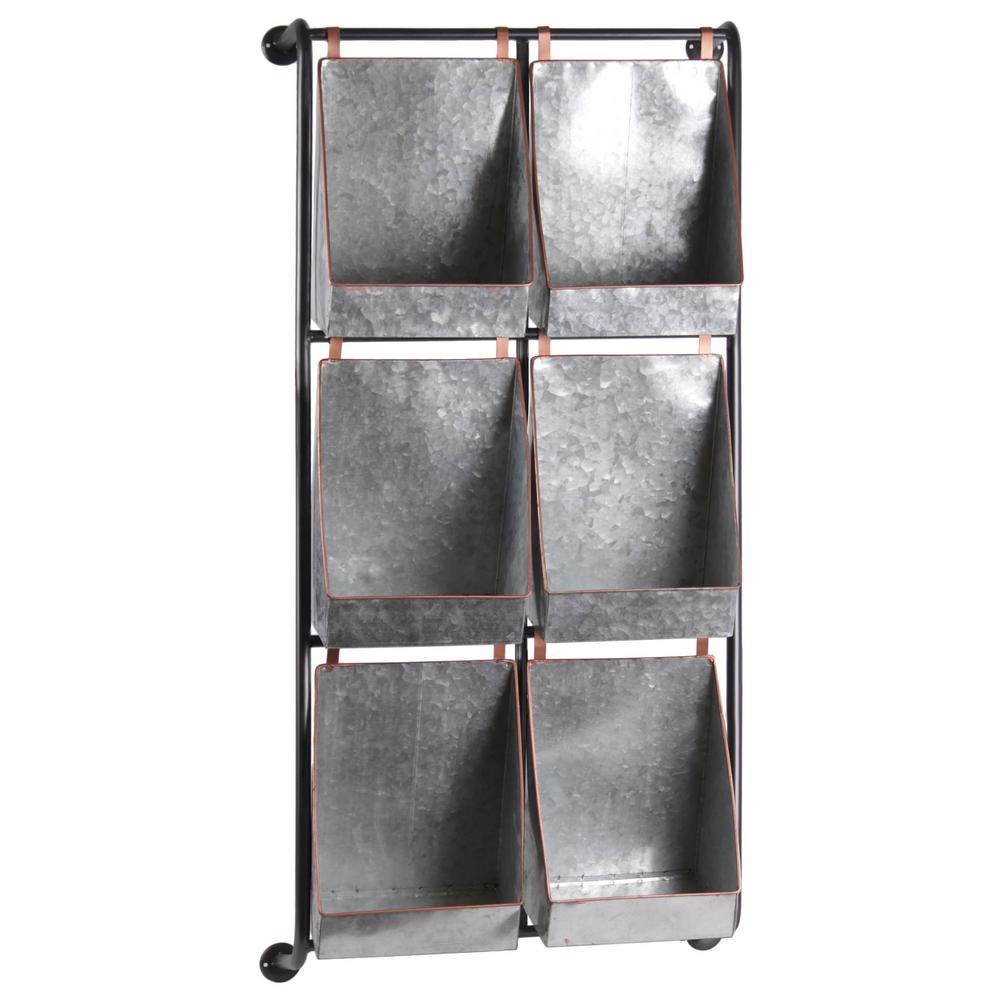 20 in. x 10 in. x 40.25 in. Multi-Colored Metal Wall Shelf