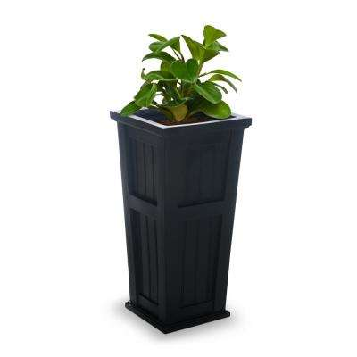 Cape Cod 15-1/2 in. Square Black Plastic Column Planter