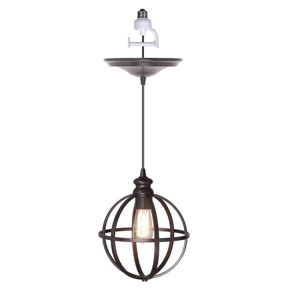 Worth Home Products Instant Pendant 1 Light Recessed Conversion Kit Brushed Bronze Globe Cage Shade